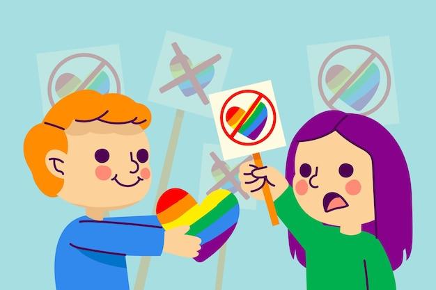 Concepto de homofobia con corazón
