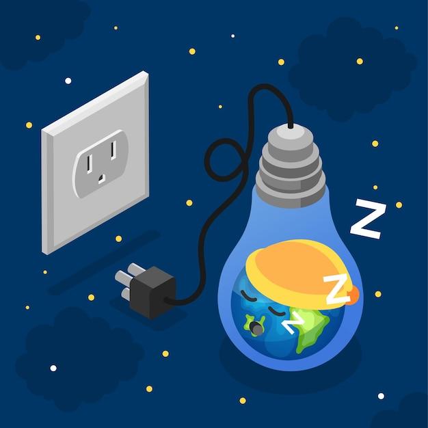 Concepto de la hora del planeta con tierra durmiendo en la bombilla enchufada del zócalo