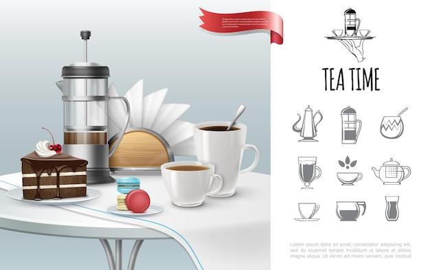 Concepto de la hora del té con tazas de pastel realistas llenas de bebidas calientes prensa francesa macarrones servilletas mantel en la mesa y los iconos de la fiesta del té