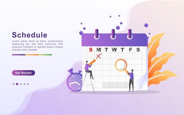Concepto de horario o horario de clases, creación de plan de estudio personal, planificación y programación del tiempo de aprendizaje. diseño plano para landing page