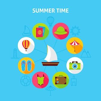 Concepto de horario de verano. ilustración de vector de círculo de infografías de vacaciones de mar con iconos planos.