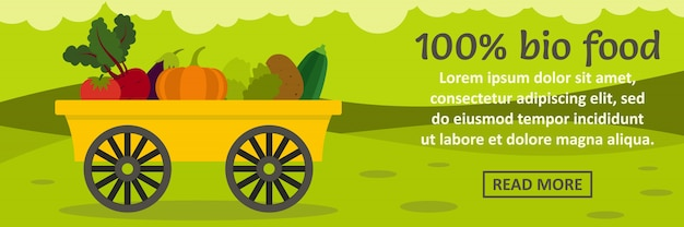 Concepto horizontal de banner 100% bio food