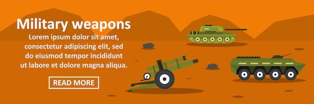 Concepto horizontal de banner de armas militares