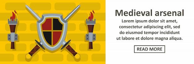 Concepto horizontal de banner de arsenal medieval