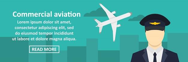 Concepto horizontal de banner de aviación comercial