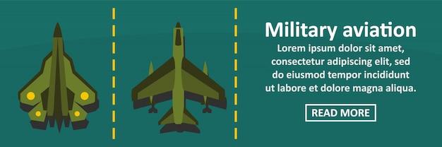 Concepto horizontal de banner de aviación militar