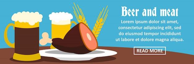 Concepto horizontal de banner de cerveza y carne
