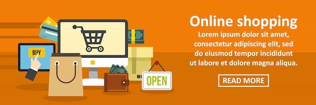 Concepto horizontal de banner de compras en línea