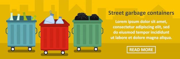 Concepto horizontal de banner de contenedores de basura de calle