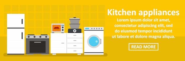 Concepto horizontal de banner de electrodomésticos de cocina