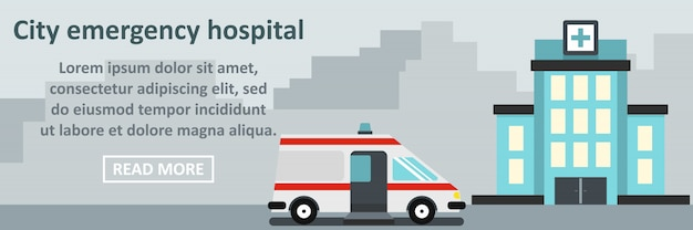 Concepto horizontal de banner de hospital de emergencia de la ciudad