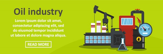 Concepto horizontal de banner de industria petrolera