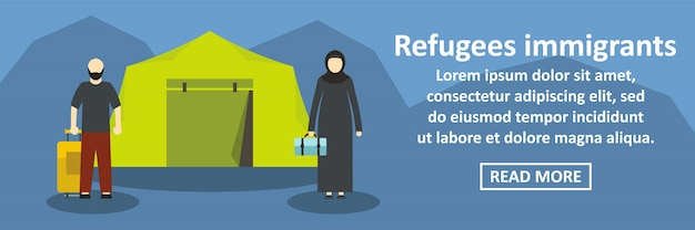 Concepto horizontal de banner de inmigrantes refugiados
