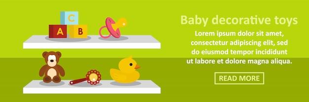 Concepto horizontal de banner de juguetes decorativos de bebé