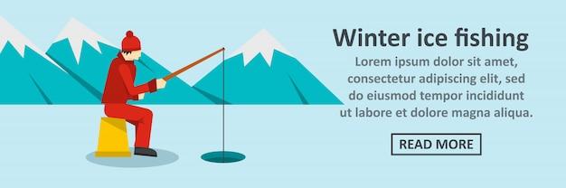 Concepto horizontal de banner de pesca de hielo de invierno