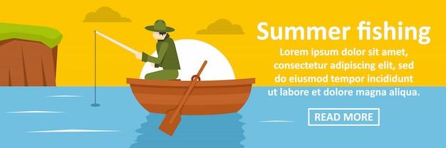 Concepto horizontal de banner de pesca de verano