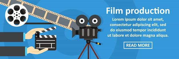 Concepto horizontal de banner de producción cinematográfica