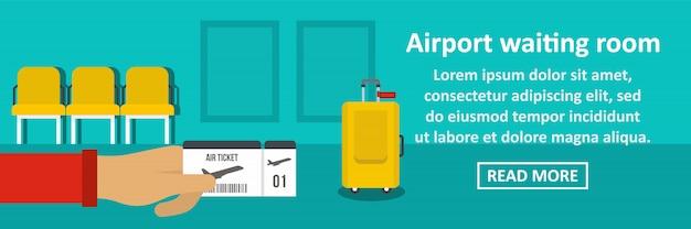 Concepto horizontal de banner de sala de espera del aeropuerto