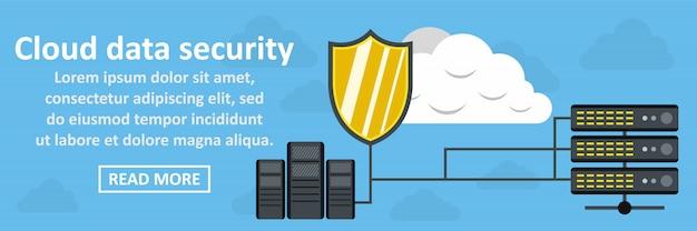 Concepto horizontal de banner de seguridad de datos en la nube