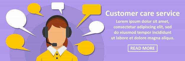 Concepto horizontal de banner de servicio de atención al cliente