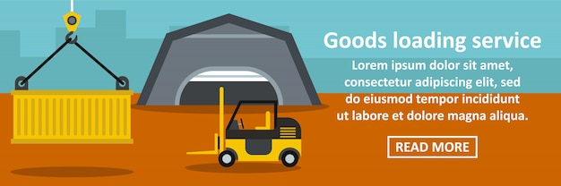 Concepto horizontal de banner de servicio de carga de mercancías
