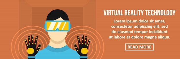 Concepto horizontal de banner de tecnología de realidad virtual