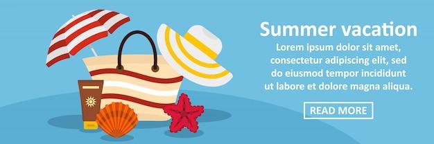 Concepto horizontal de banner de vacaciones de verano