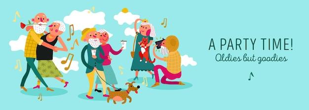 Concepto horizontal de diseño de pareja de ancianos con ilustración de vector plano de símbolos de tiempo de fiesta