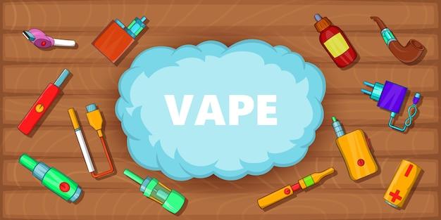 Concepto horizontal de herramientas de vaping. ilustración de dibujos animados de vaping herramientas banner vector horizontal para web