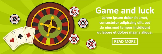Concepto horizontal de juego y suerte banner