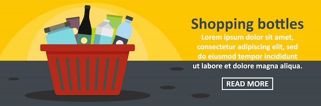 Concepto horizontal de plantilla de banner de botellas de compras