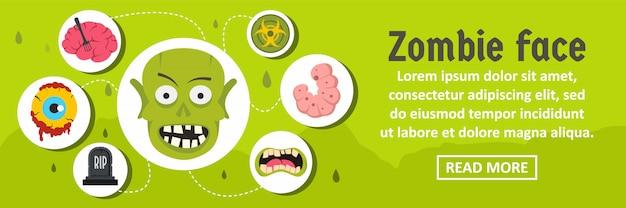 Concepto horizontal de plantilla de banner de cara de zombie