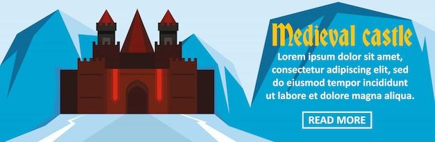 Concepto horizontal de plantilla de banner de castillo medieval