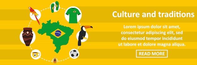 Concepto horizontal de plantilla de banner de cultura y tradiciones de brasil