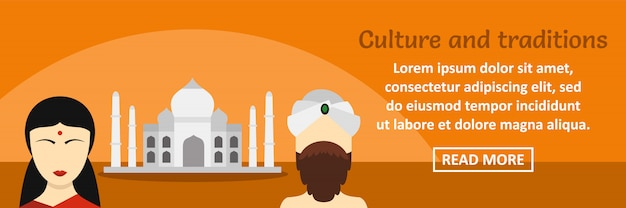 Concepto horizontal de plantilla de banner de cultura y tradiciones de india