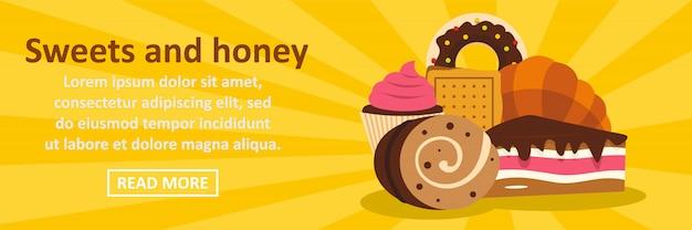 Concepto horizontal de plantilla de banner de dulces y miel