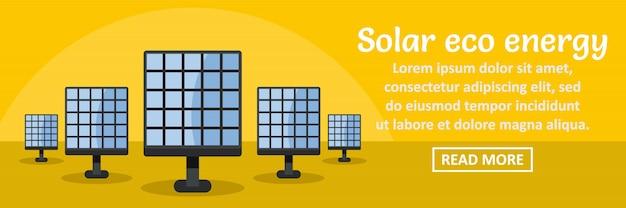 Concepto horizontal de la plantilla de banner de energía solar eco