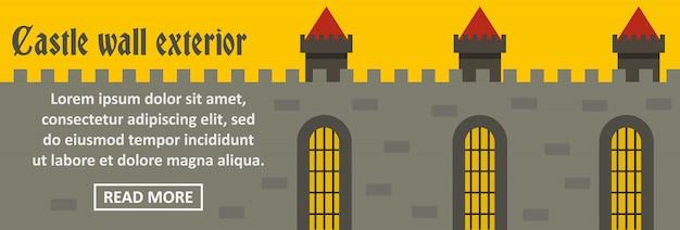 Concepto horizontal de la plantilla de banner exterior de pared de castillo