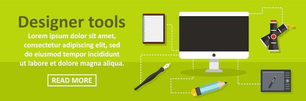 Concepto horizontal de plantilla de banner de herramientas de diseño