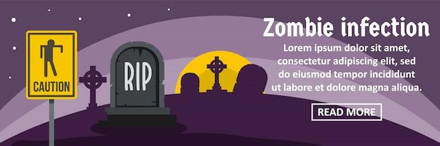Concepto horizontal de plantilla de banner de infección de zombie