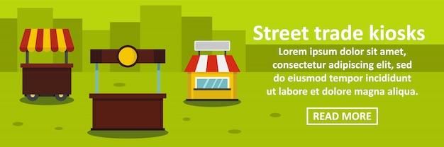 Concepto horizontal de plantilla de banner de kioscos de comercio callejero