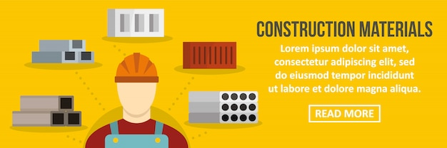 Concepto horizontal de plantilla de banner de materiales de construcción