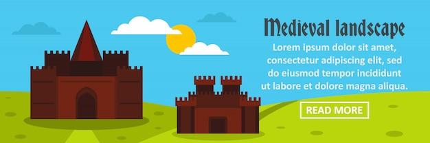 Concepto horizontal de plantilla de banner de paisaje medieval de castillo