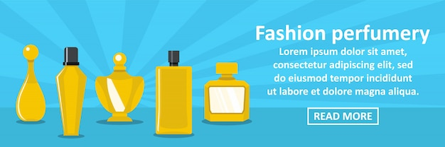 Concepto horizontal de plantilla de banner de perfumería de moda