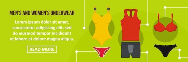 Concepto horizontal de plantilla de banner de ropa interior de hombres y mujeres