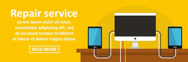 Concepto horizontal de plantilla de banner de servicio de reparación de gadget