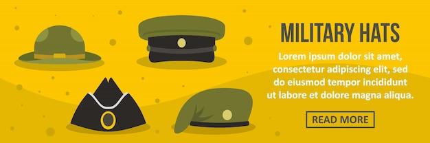 Concepto horizontal de plantilla de banner de sombreros militares