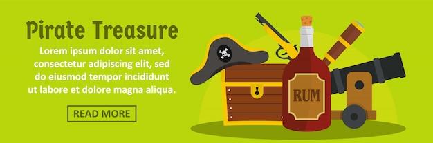 Concepto horizontal de plantilla de banner de tesoro pirata