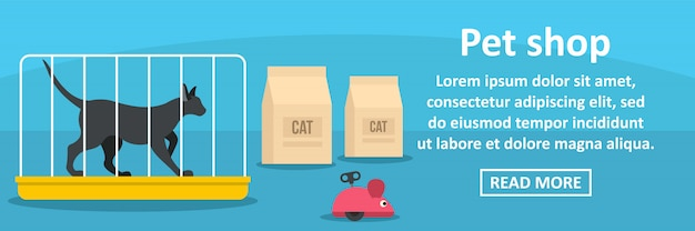 Concepto horizontal de plantilla de banner de tienda de mascotas