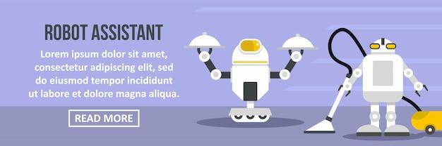 Concepto horizontal de robot asistente banner plantilla